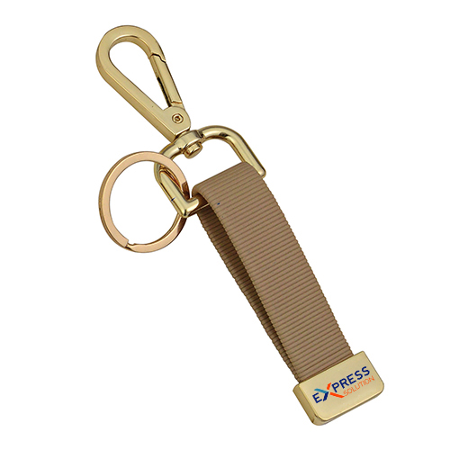 Double Metal Hook Brown Leather Keychain