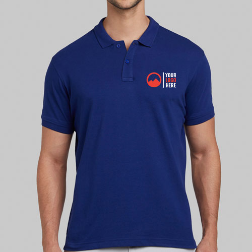 Parx Blue Solid Polo Collar T-shirt