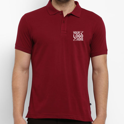 Parx Maroon Solid Polo Collar