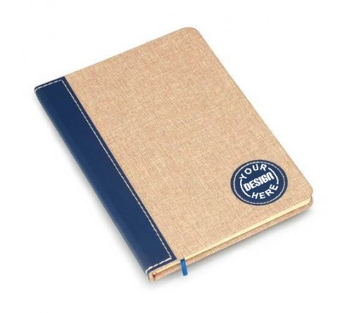 Linen with PU round patch A5 notebook