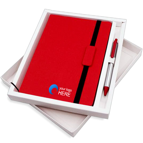 Elastic Business Notebook with Pen Set