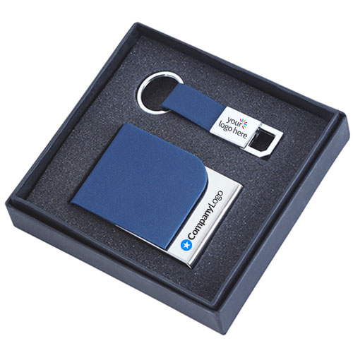 Blue Gift Set Card Holder And Key Chain