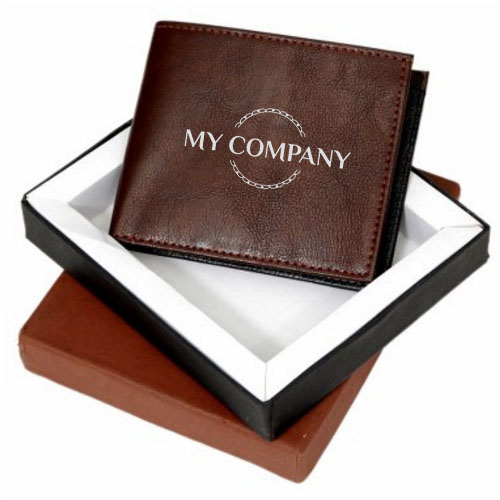 Brown & Black Customized Leatherette Wallet