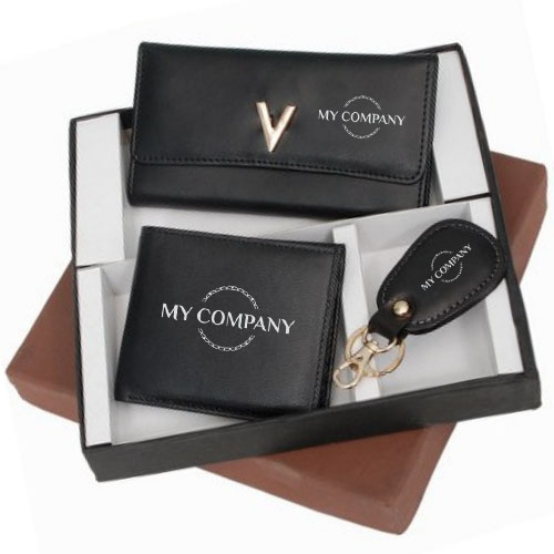 3 In 1 Black Leather Gifts Set