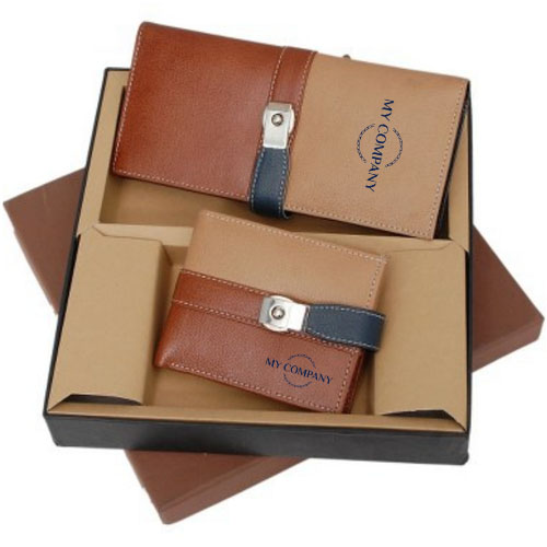 2 In 1 Beige & Brown Color Leather Gifts Set