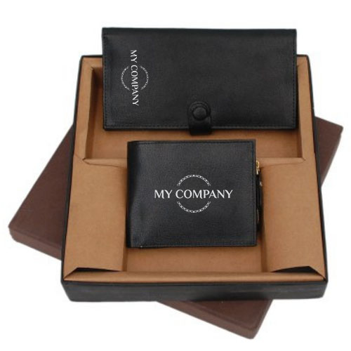 2 In 1 Black Color Leather Gifts Set