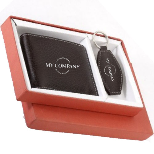 2 In 1 Black Keychain & Man Wallet Gifts set