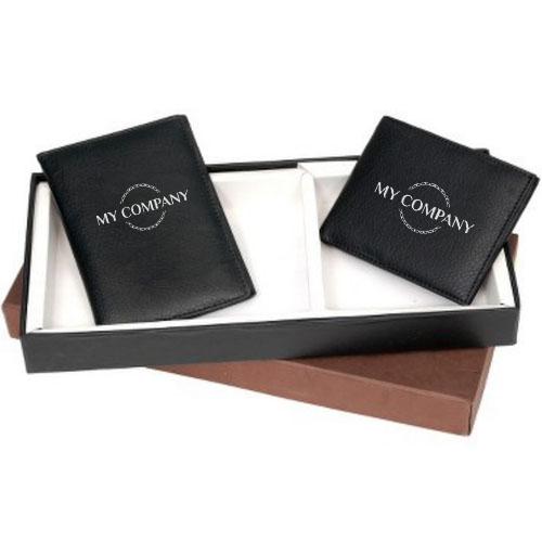 2 In 1 Black Leather Gifts Set Men Wallet & Passport Holder
