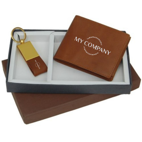 2 In 1 Tan Keychain & Man Wallet Gifts set