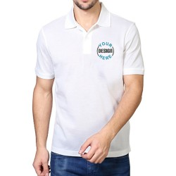 Embroidered Blended Fabric Polo T-Shirt White