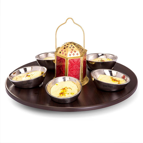 SK 7 Pcs Dessert Set With Wooden Tray