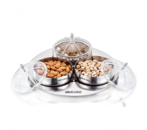 SK Maharaja Belly Bowl Serving Set of 3 with Tray