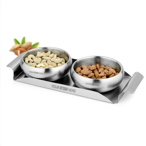 SK Set of 2 Pcs Belly Bowl with SS Tray Set