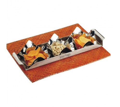 SK Set of 3 Pcs Lotus Nut Bowl with SS Tray Set