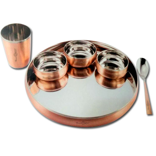 Sanjeev Kapoor Set of 6Pcs Copper Plated Thali Set