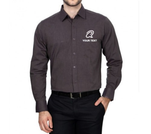 Embroidered Men Shirt Grey