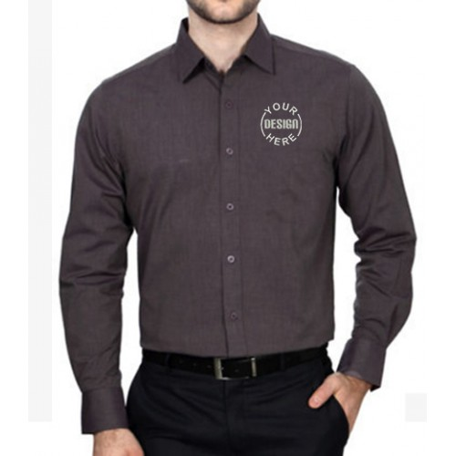 Embroidered Men Shirt Dark Grey