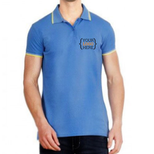 UCB Cotton Tipping Polo T-shirt Sky Blue