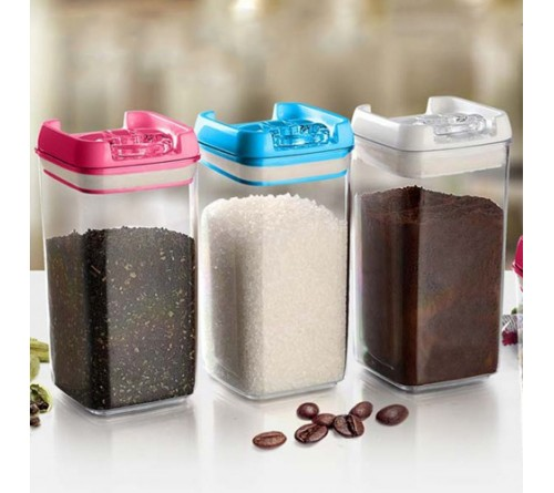 Set of 3 Multipurpose Air Tight Containers with Easy Lock Lid
