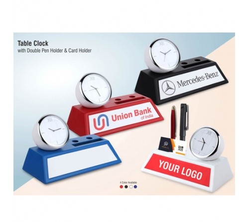 Table Clock with Double Pen Holder Card Holder
