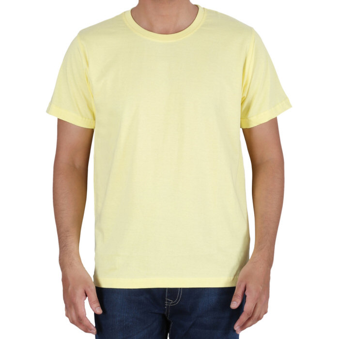 b2c064e041e8 Printed Cotton Crew Neck T Shirt Light Yellow Custom Design ...